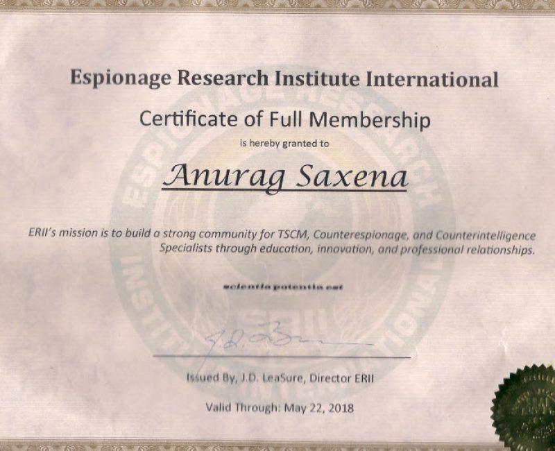 ERII Certificate