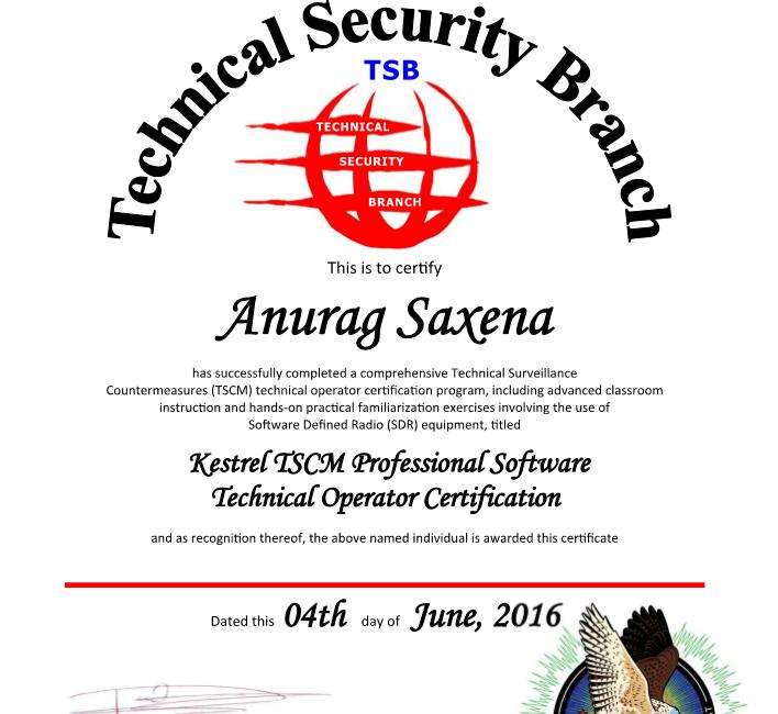 Kestrel Training Certificate